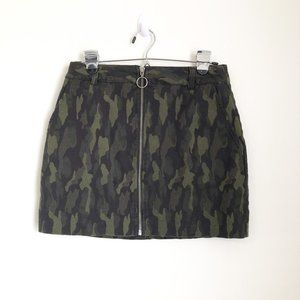 Forever 21 Green Camouflage Mini Zip Front Skirt